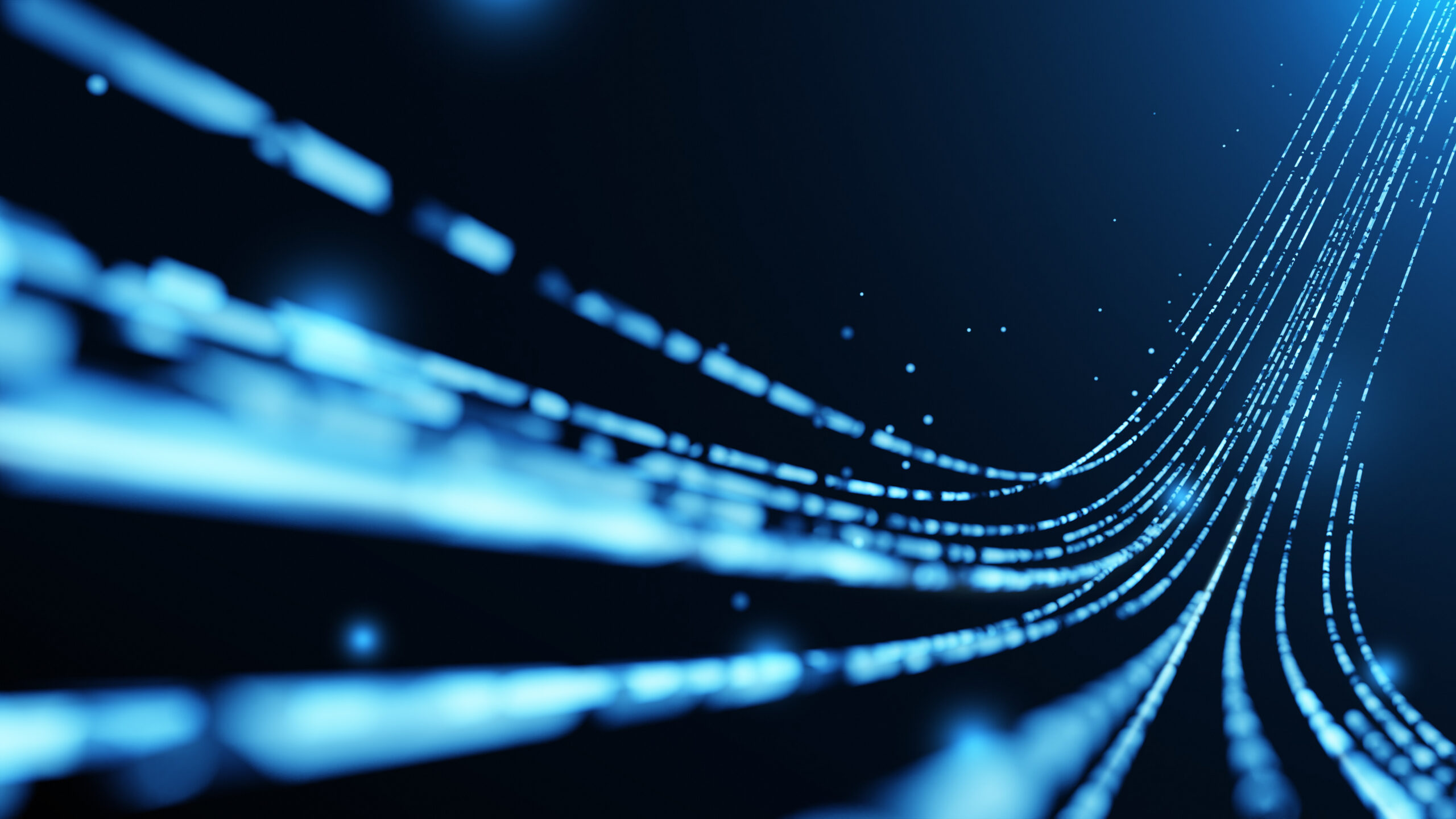 Virtual data transfer in network and internet, 3D rendering in technology and futuristic concept.